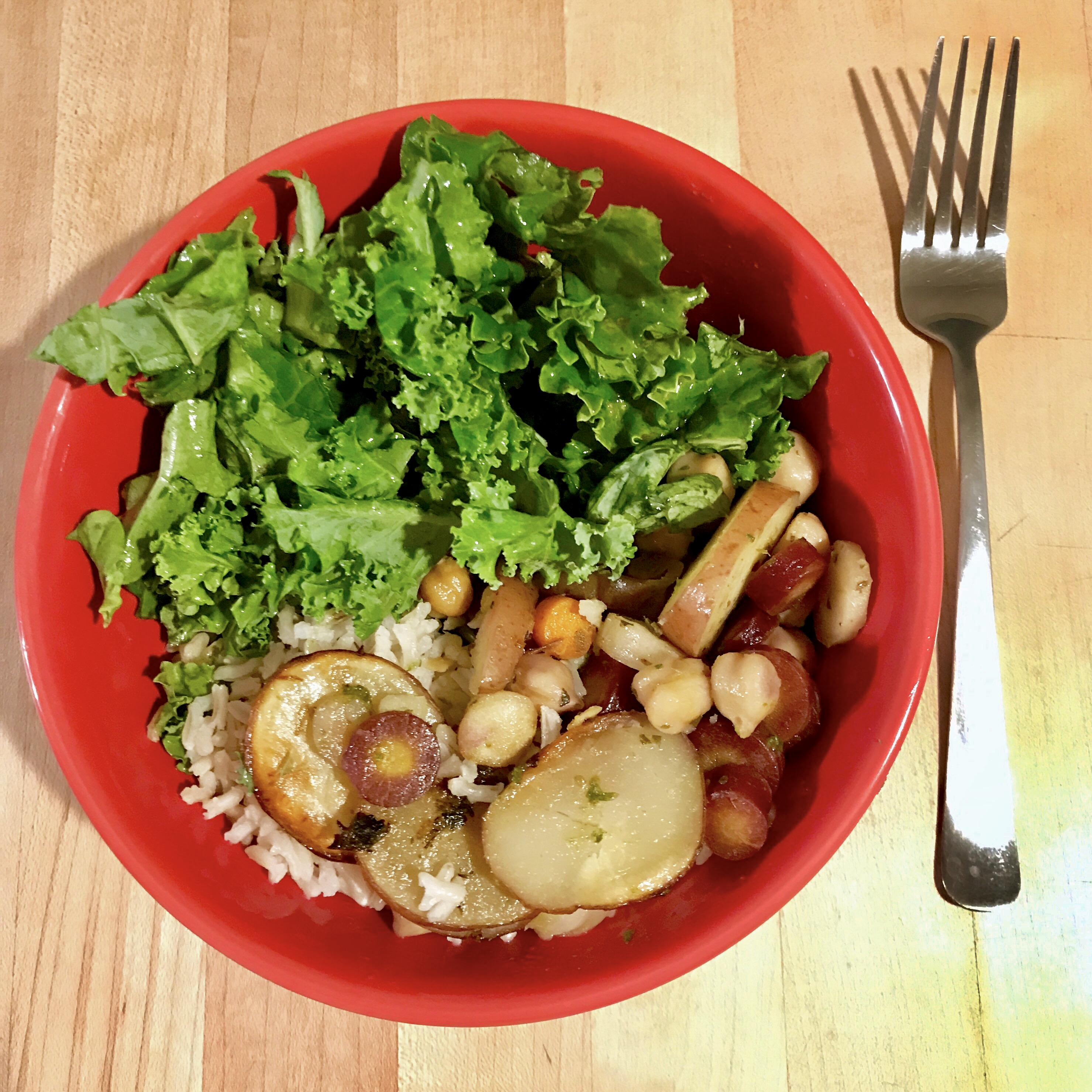 Healthy Lunch  Kale Salad with Potato, Carrot, and Rice