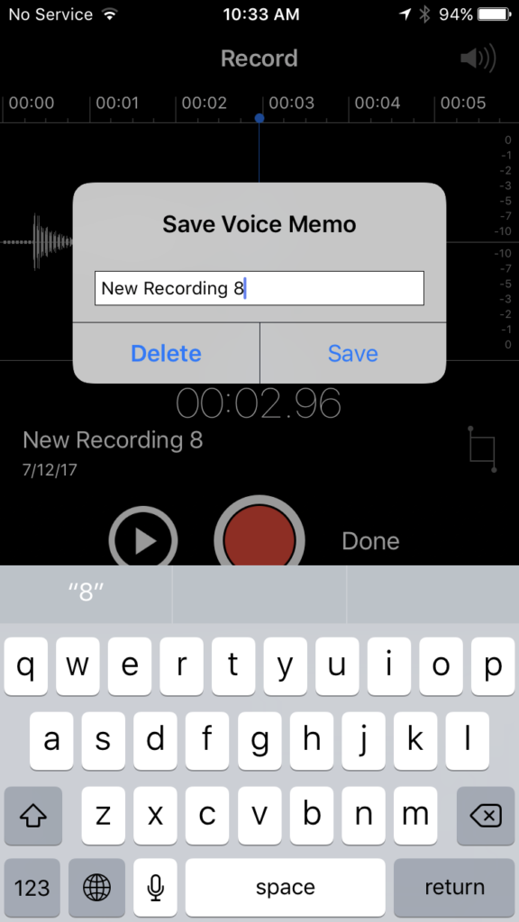 Saving Voice Memo on iPhone